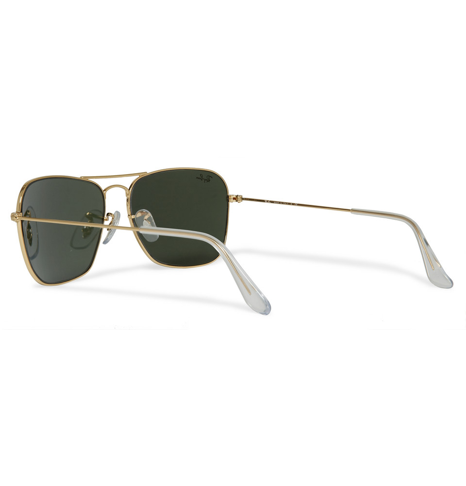 Ray Ban Oversized D Frame Glasses : Ray-ban Caravan Metal D-Frame Sunglasses in Metallic for ...