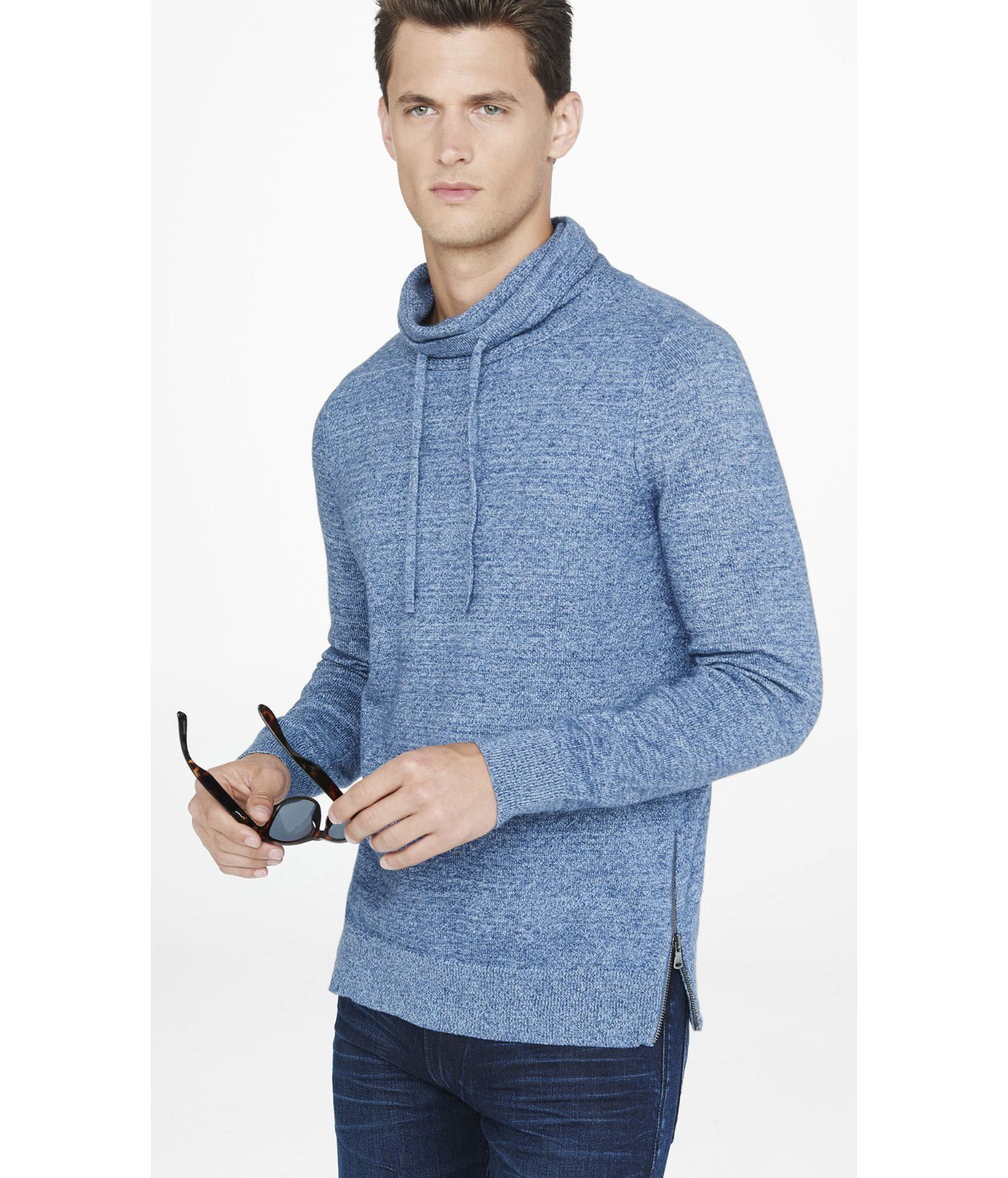Express Heathered Funnel Neck Side Zip Sweater in Blue for Men | Lyst