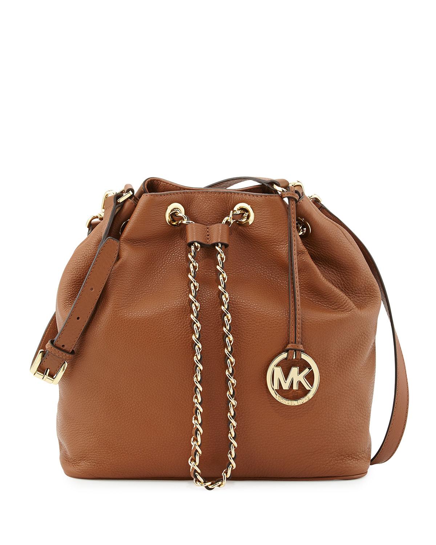michael kors michael large frankie drawstring shoulder bag in brown lyst. Black Bedroom Furniture Sets. Home Design Ideas