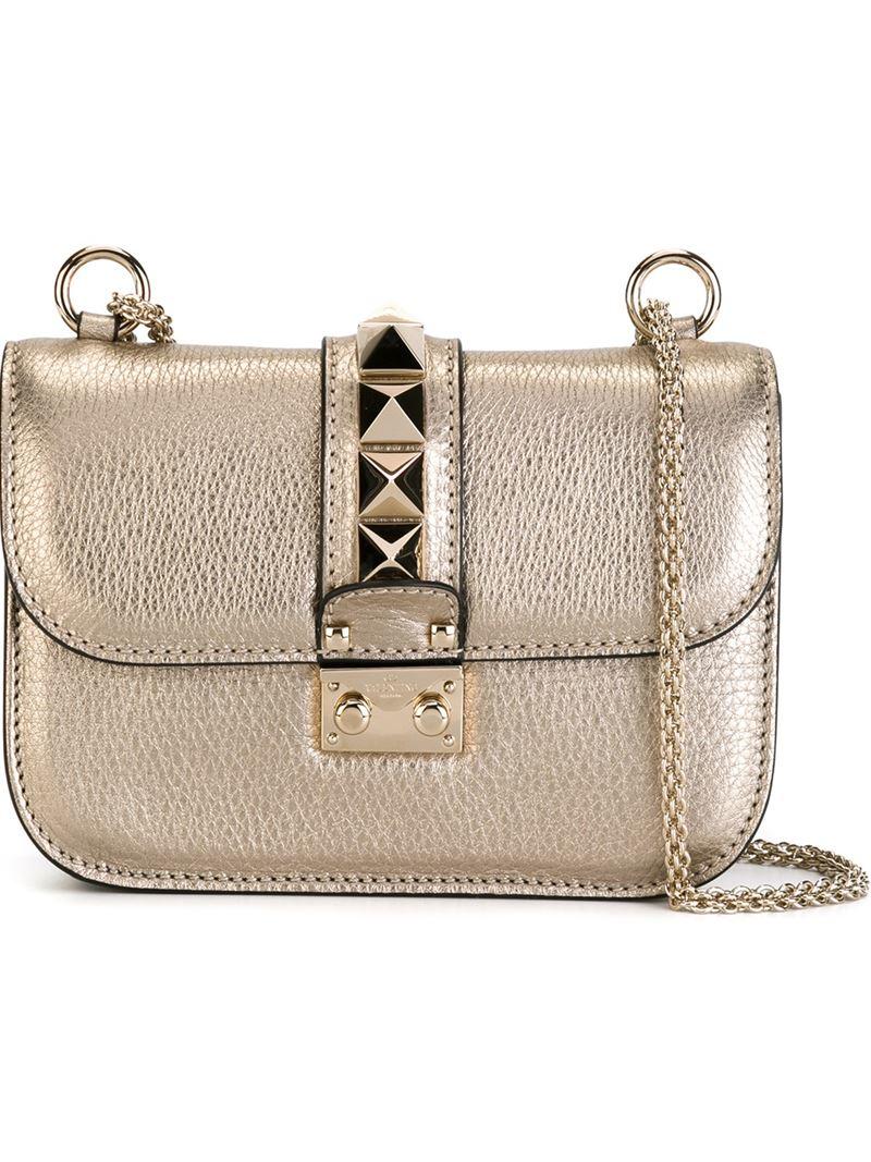 07b3e6a46fe Valentino Glam Lock Metallic-Leather Shoulder Bag in Metallic - Lyst