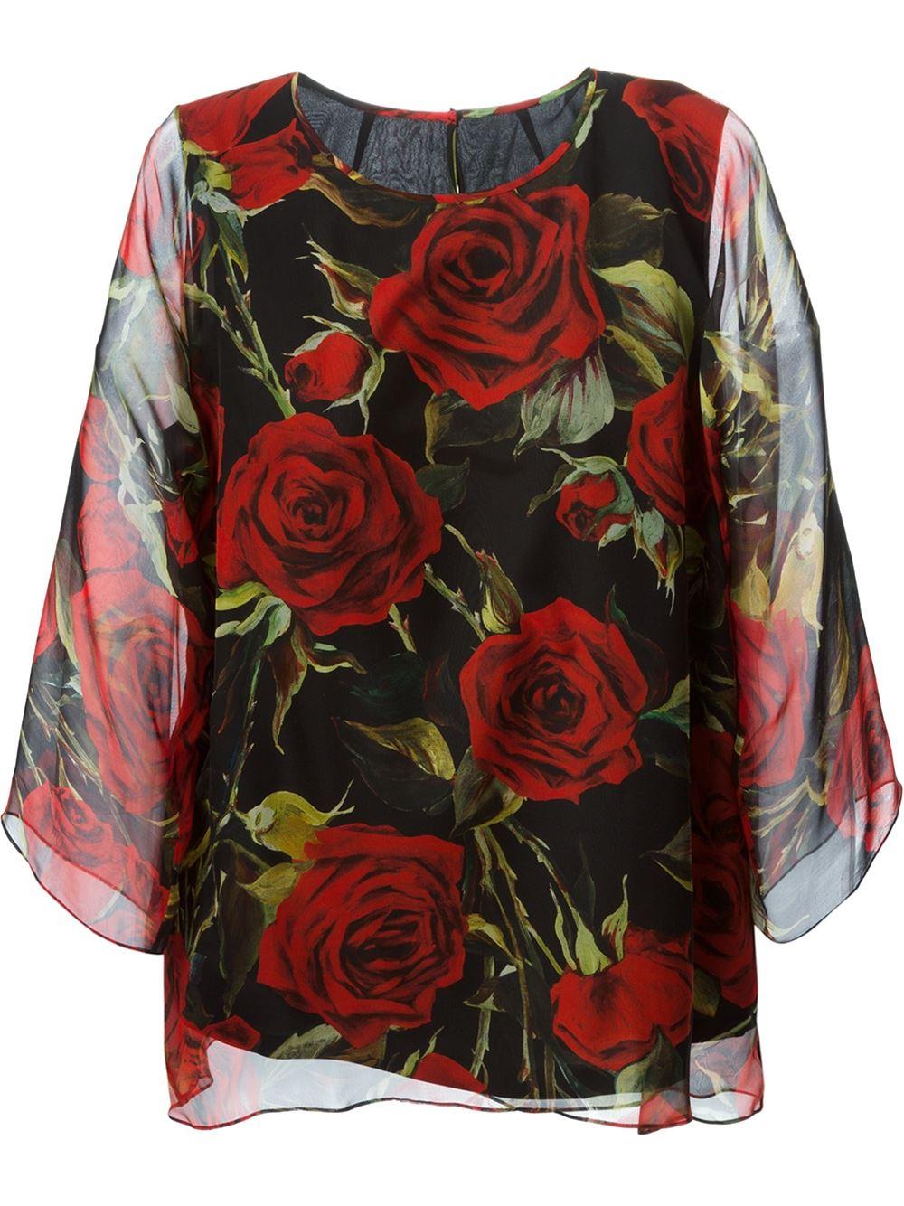 Lyst Dolce Amp Gabbana Rose Print Chiffon Blouse In Black