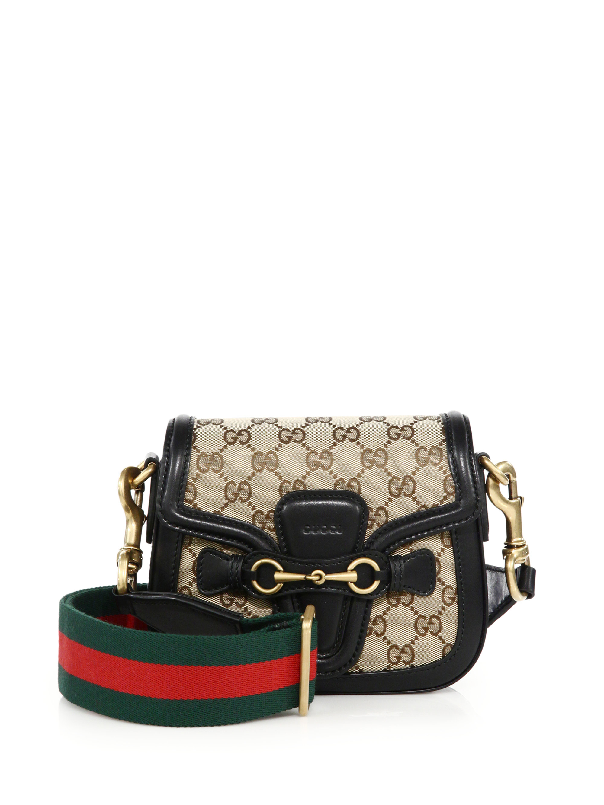 3eebbeb207a4 Lyst - Gucci Lady Web Small GG Supreme Canvas Shoulder Bag in Natural