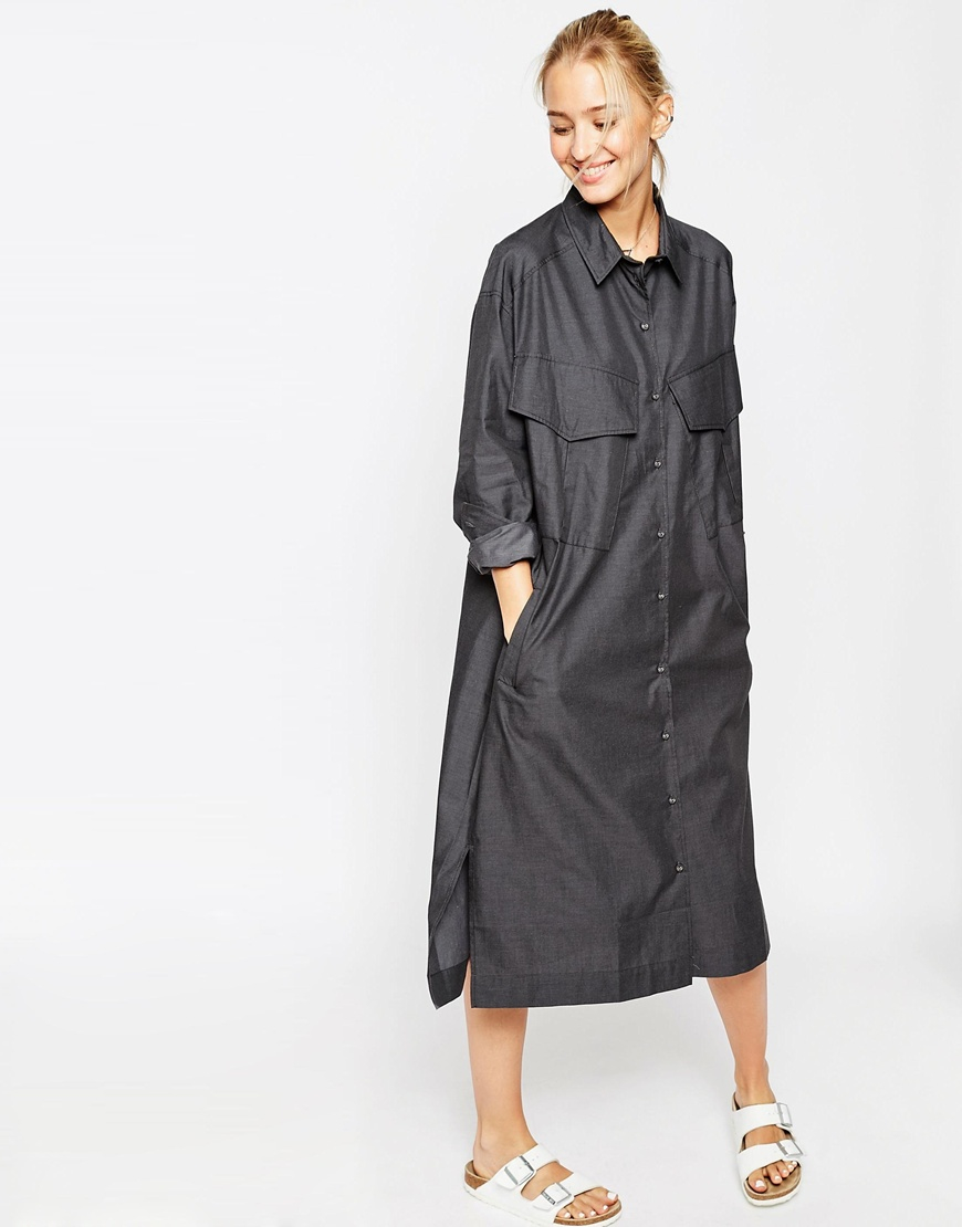 Lyst asos military shirt dress with pocket detail in gray for White military dress shirt