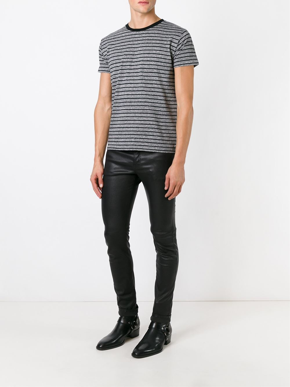 Saint laurent striped t shirt in gray for men grey lyst Grey striped t shirt