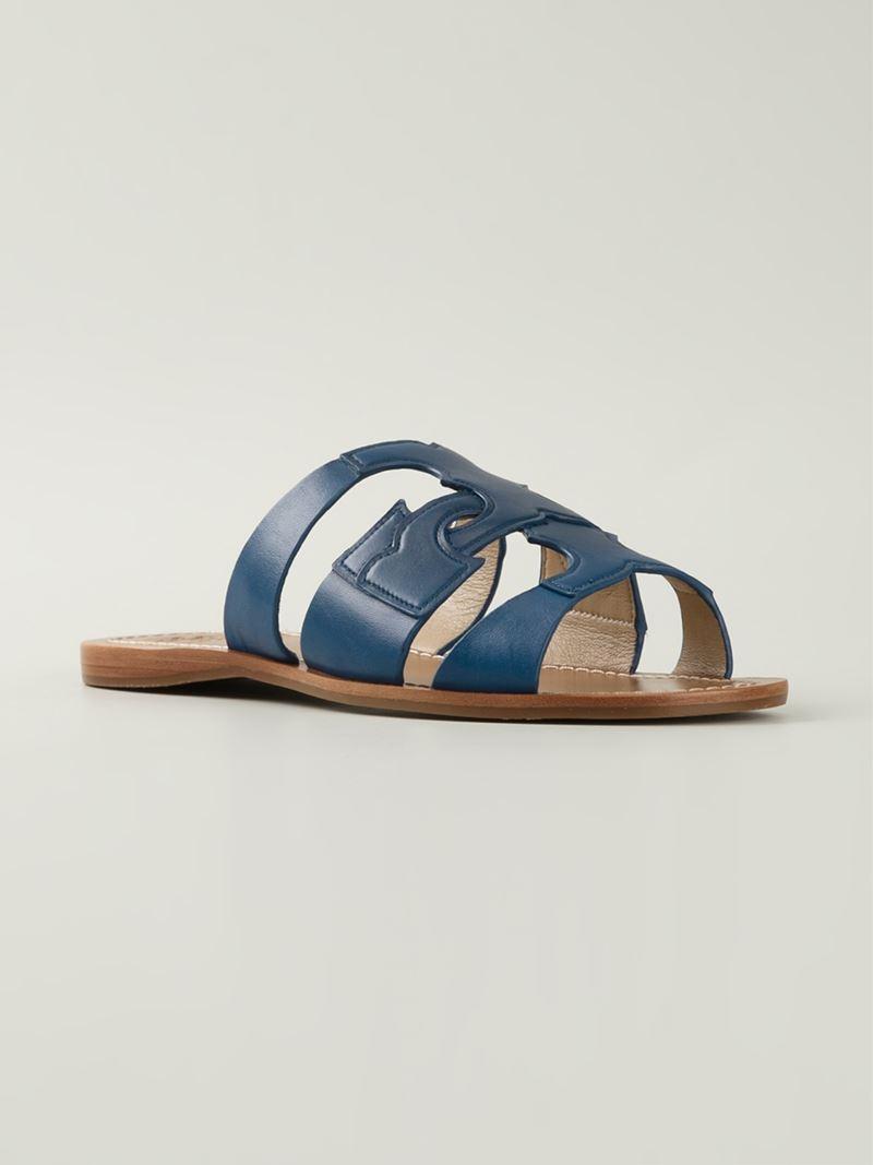 67ffa9705ff1e Lyst - Tory Burch  anchor T  Flat Sandals in Blue