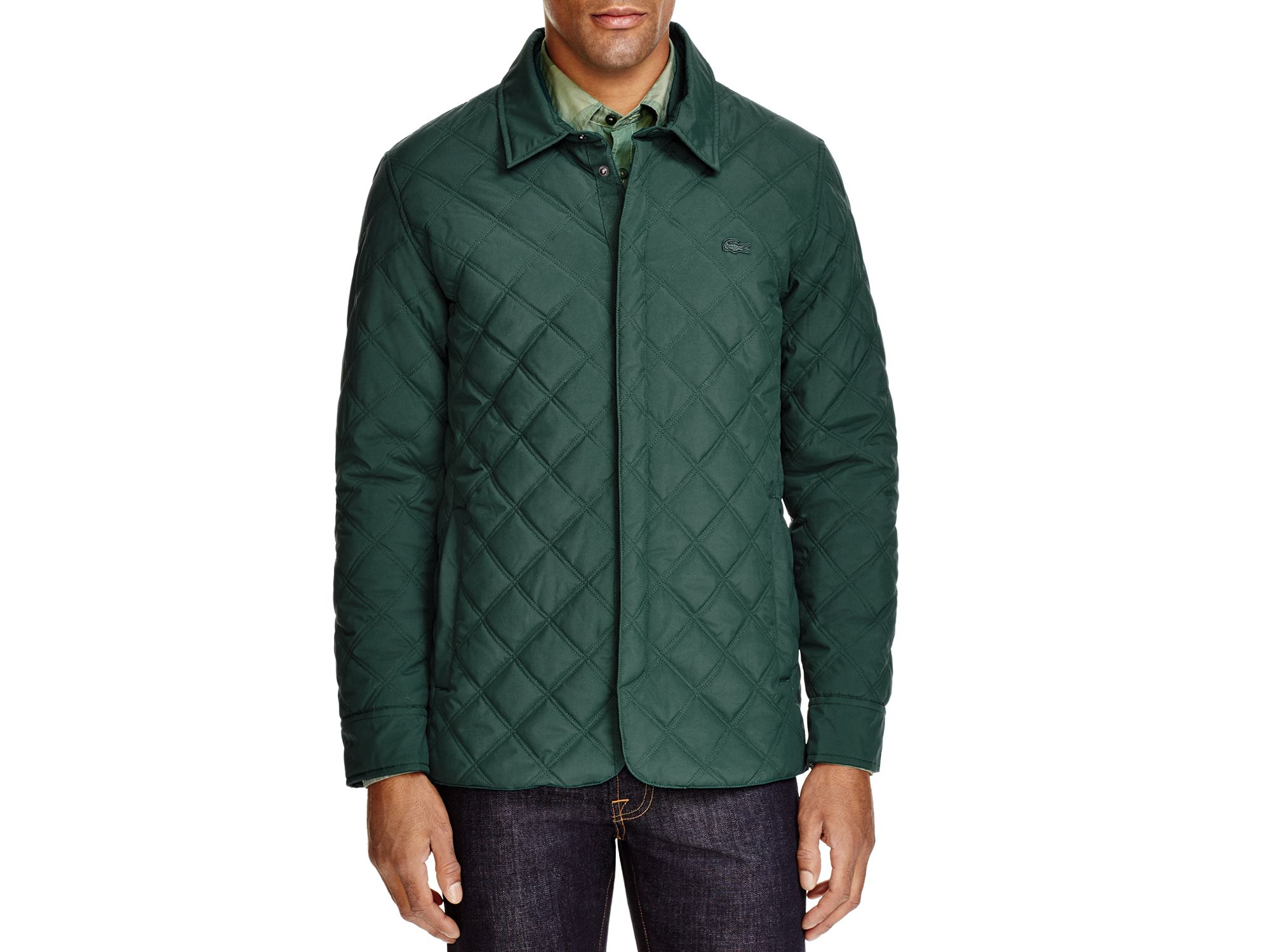Lacoste Quilted Jacket in Green for Men | Lyst