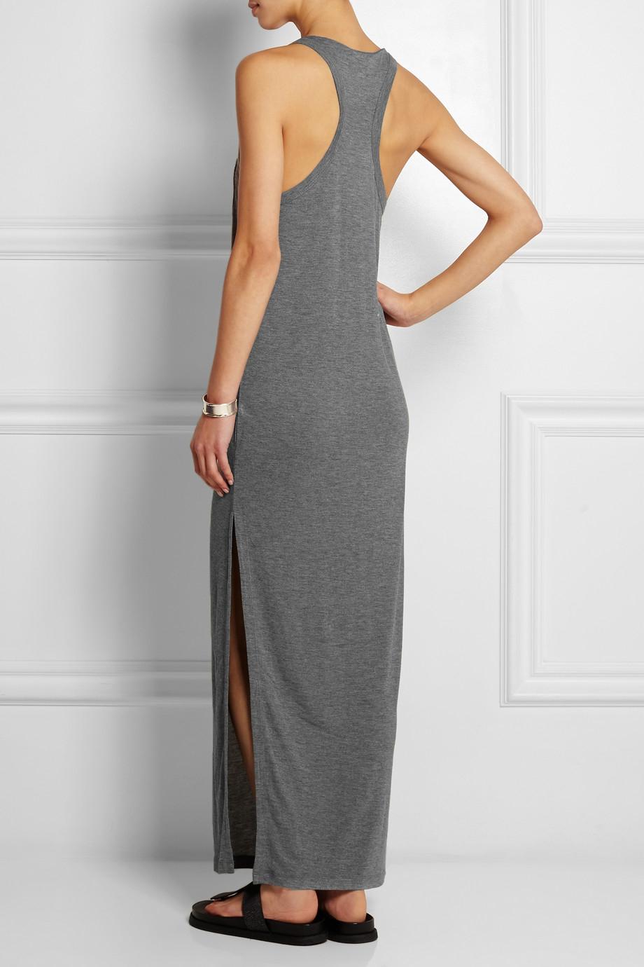 T by alexander wang Jersey Maxi Dress in Gray - Lyst