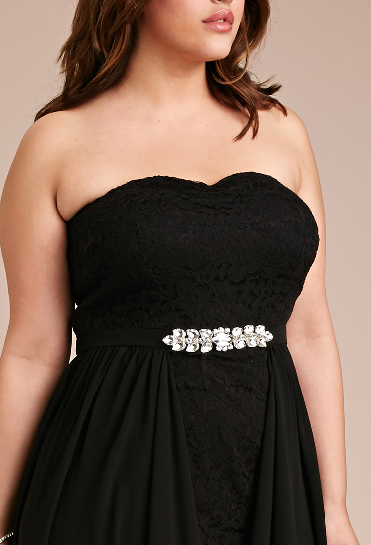 d53c599ee11 Lyst - Forever 21 Plus Size Draped Chiffon Lace Dress in Black