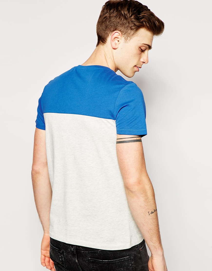 lyst jack jones t shirt with print in colour block in. Black Bedroom Furniture Sets. Home Design Ideas