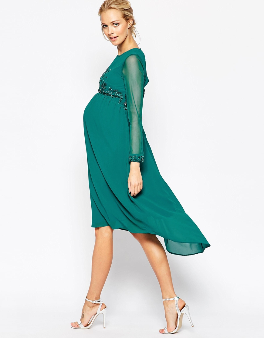 Lyst - Maya Maternity Midi Dress With Embellished Bodice And Cuff in ...