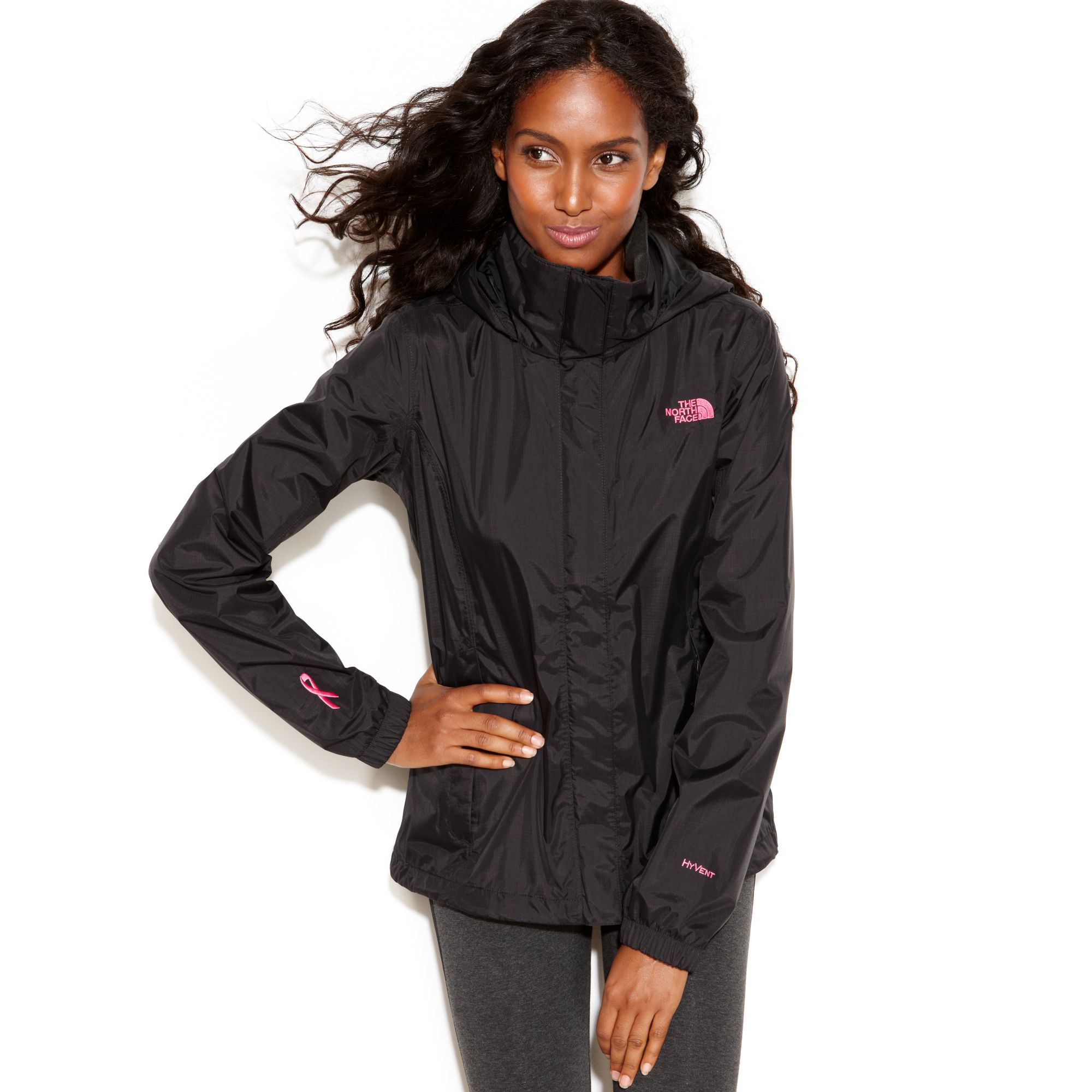 65bb1548c92f ... australia lyst the north face resolve pink ribbon zipup raincoat in  black 13644 a691a