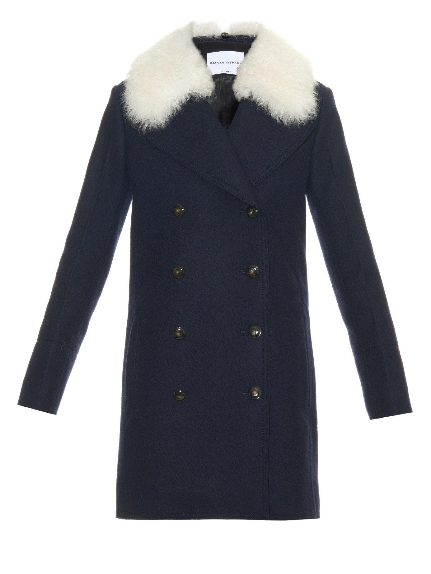 Sonia rykiel Shearling-collar Wool Coat in Blue | Lyst