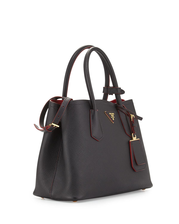 b7f48b3ce3b5 Lyst - Prada Saffiano Leather Small Double Bag in Black