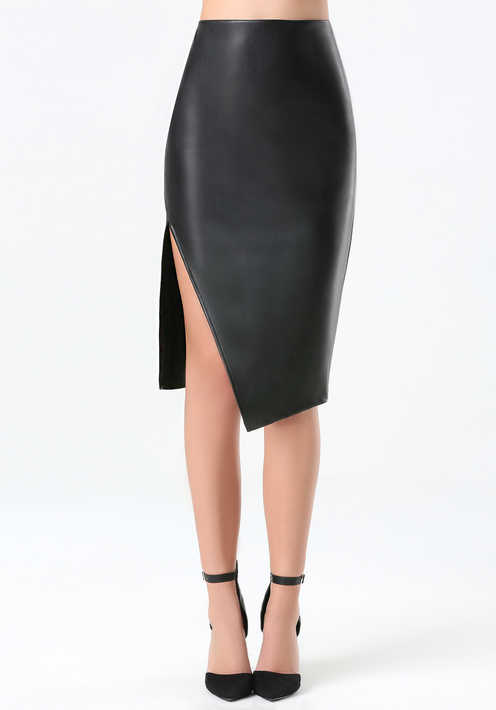 bebe faux leather midi skirt in black lyst