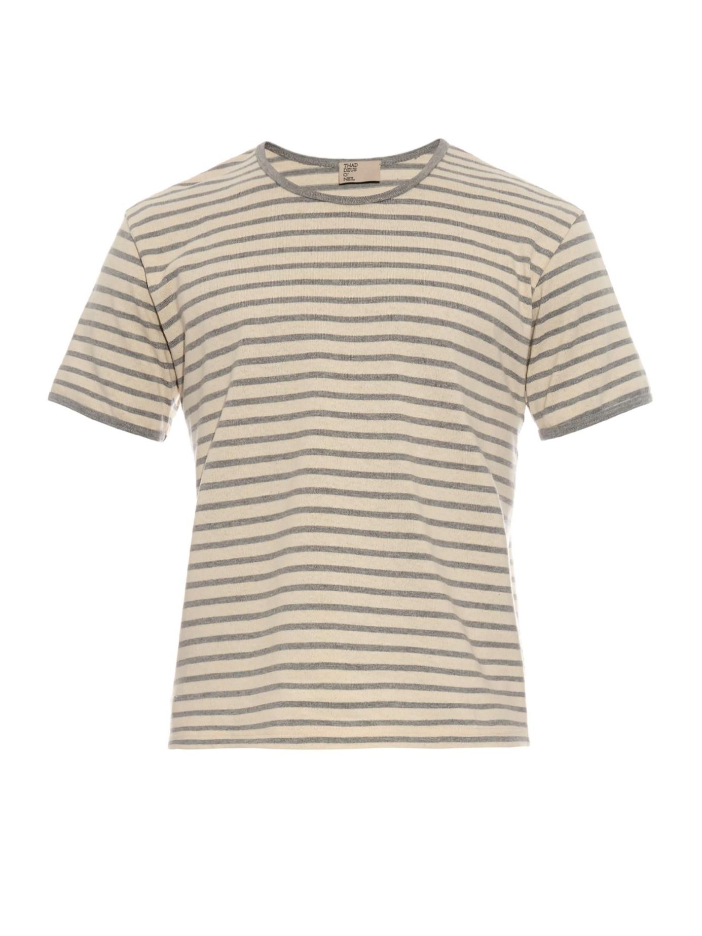 Thaddeus o 39 neil striped cotton t shirt in gray for men lyst Grey striped t shirt