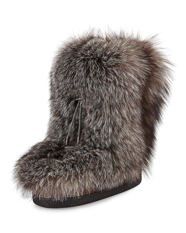 Lyst Brunello Cucinelli Fox Fur Snow Boot With Monili