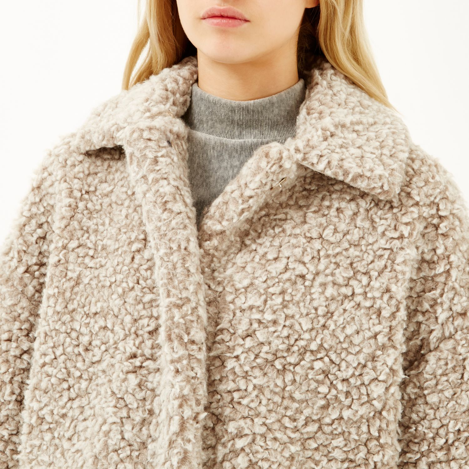 River Island Beige Soft Teddy Fur Coat In Natural Lyst