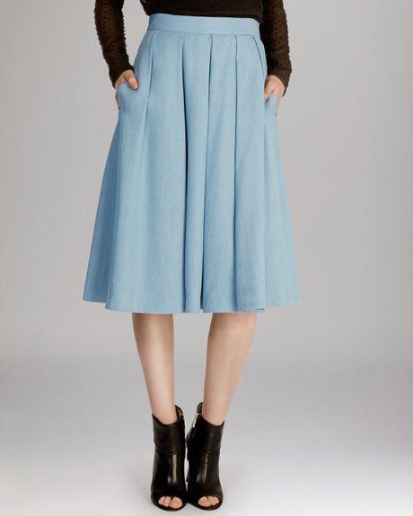 millen midi skirt in blue pale blue lyst