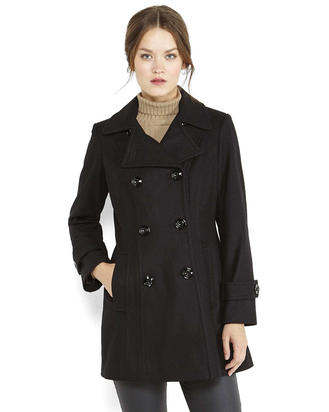 Anne klein Double-breasted Peacoat in Black | Lyst