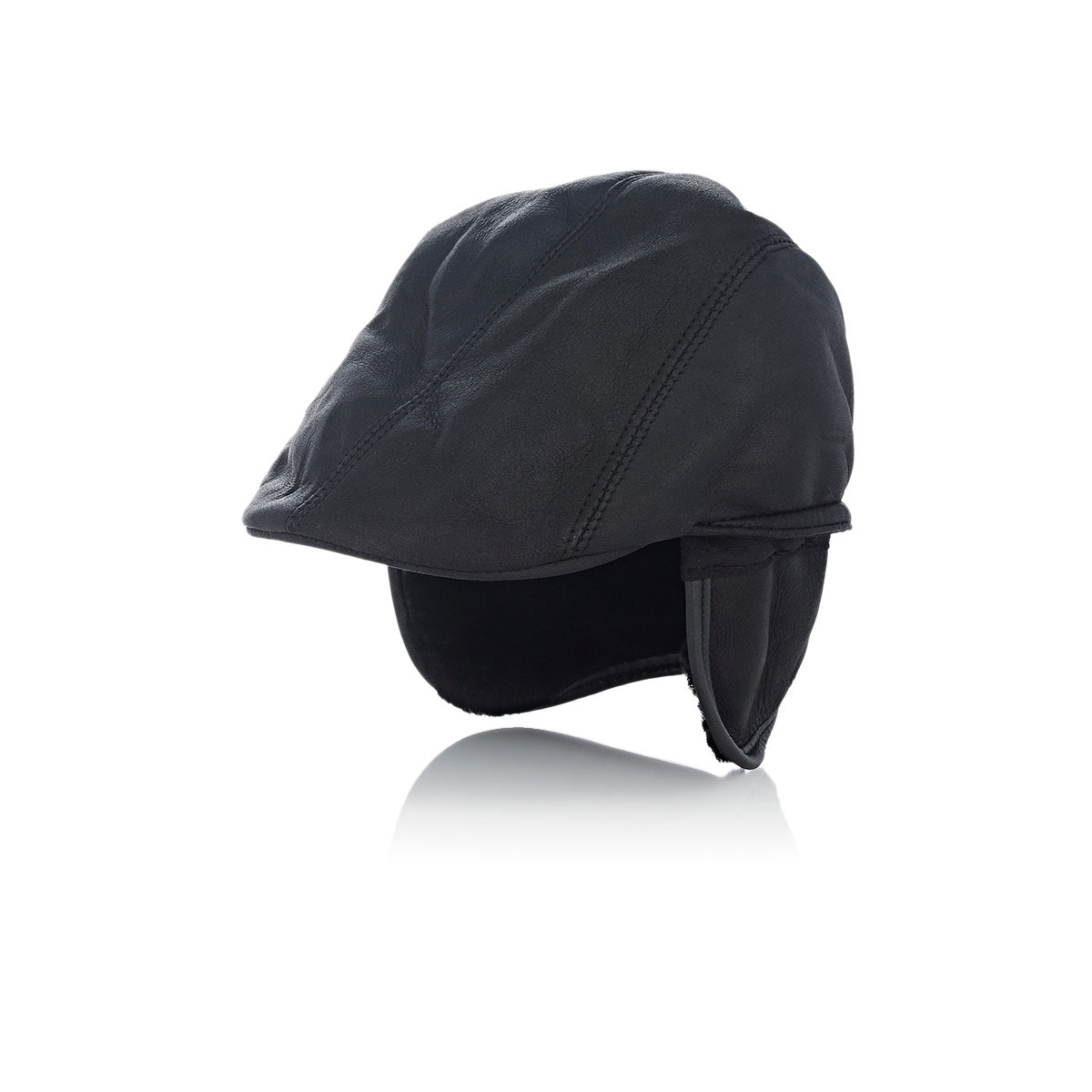fbca6caa0fe Lyst - Crown Cap Shearling-lined Leather Ivy Cap in Black for Men