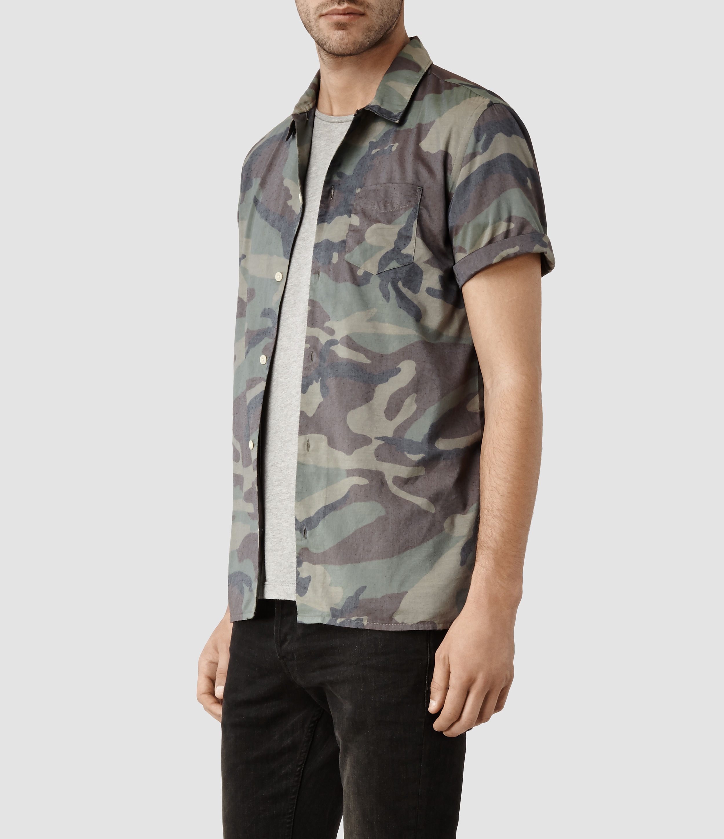 AllSaints Affray Shirt in Green for Men - Lyst 132a8d76e