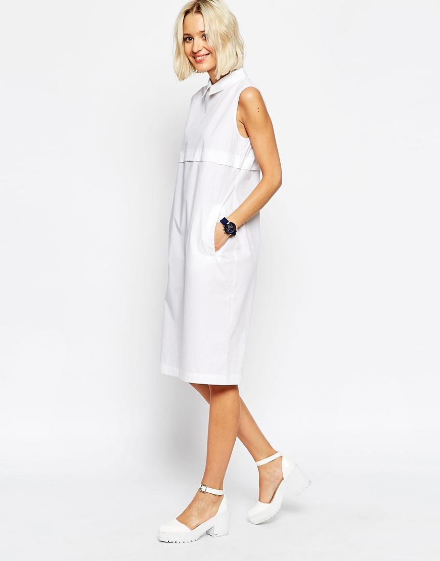 Asos Sleeveless Shirt Dress In Sheer Poplin In White Lyst