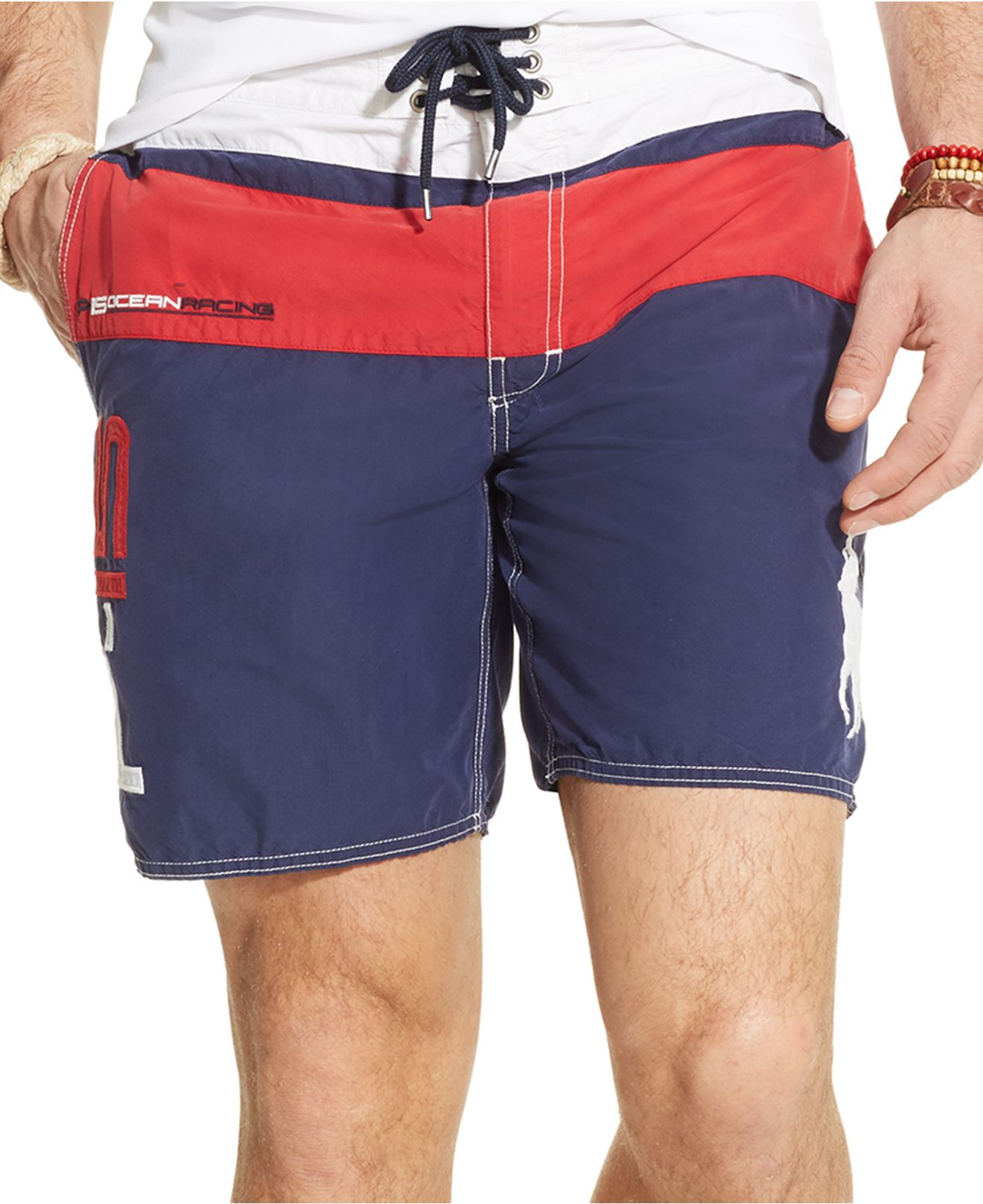 96dc4044c Polo Ralph Lauren Palm Island Color-Blocked Swim Trunks in Blue for ...