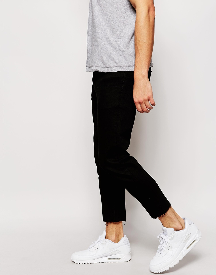 Asos Skinny Jeans With Raw Hem In Cropped Length in Black for Men ...