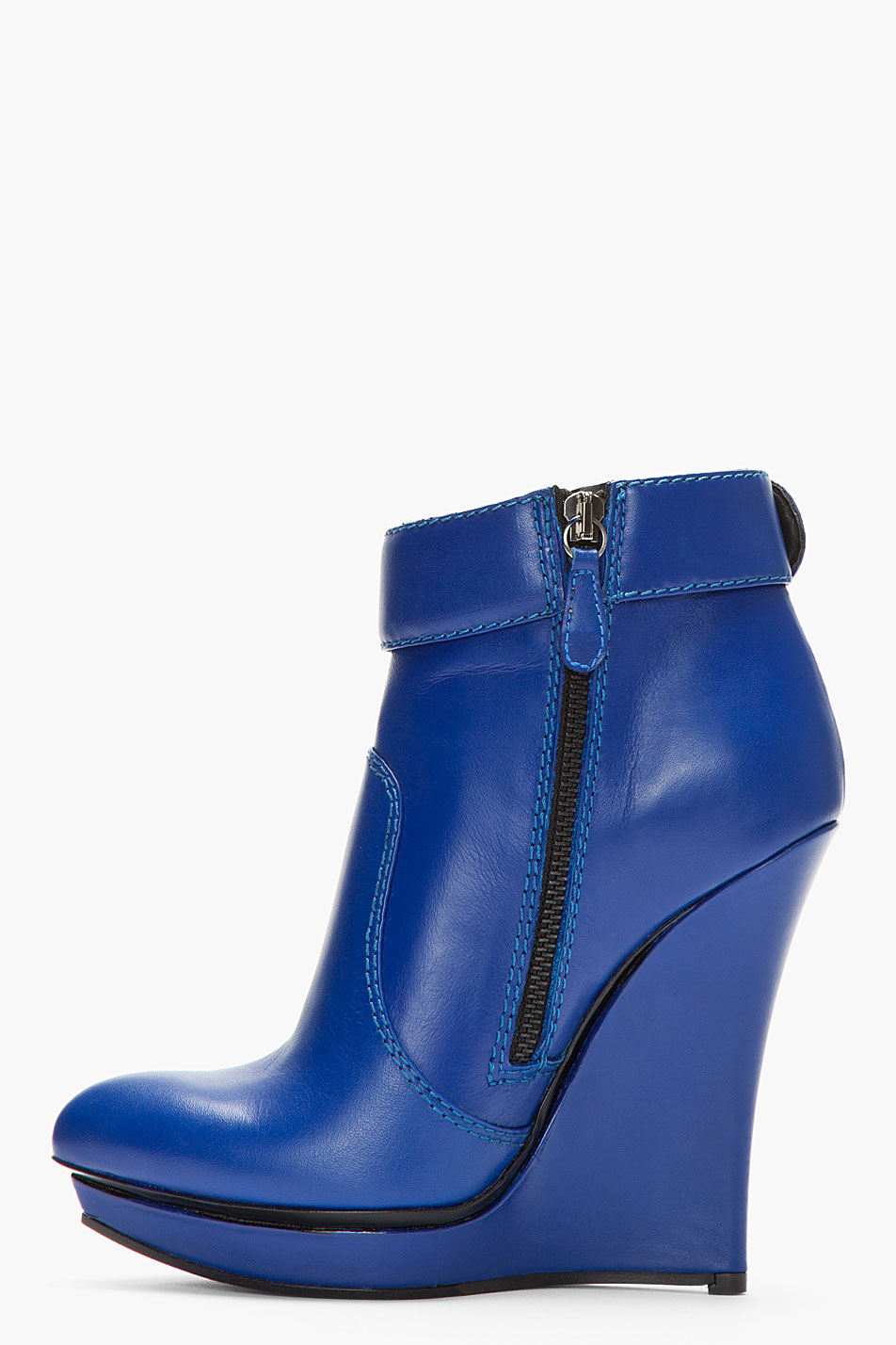 Mcq Blue Leather Slim Wedge Biker Boots in Blue