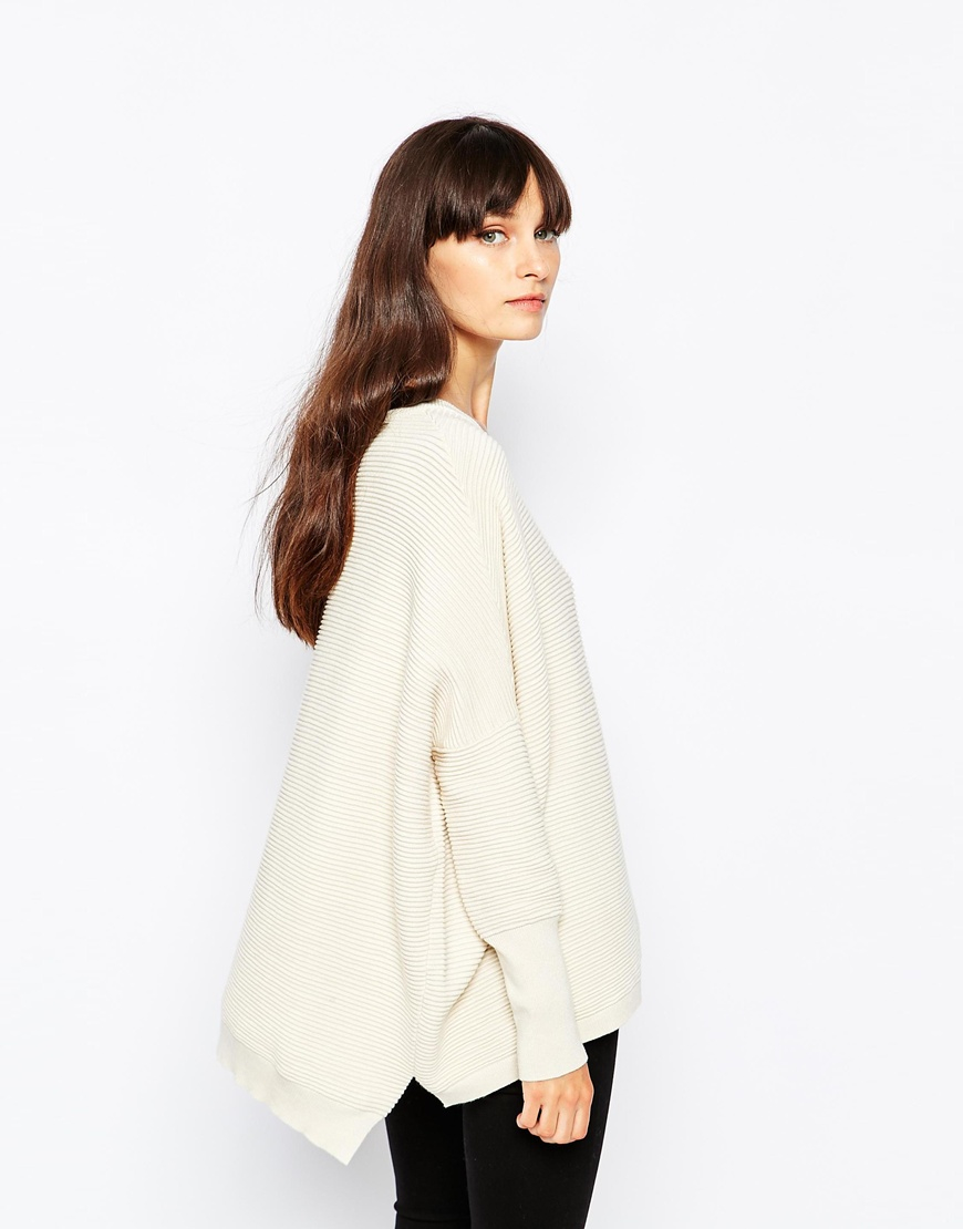 Paisie Oversized Rib Jumper With Side Splits in Natural | Lyst