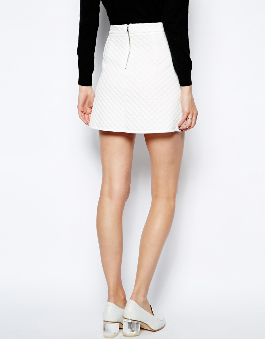 Asos A-line Skirt In Textured Spot in White | Lyst
