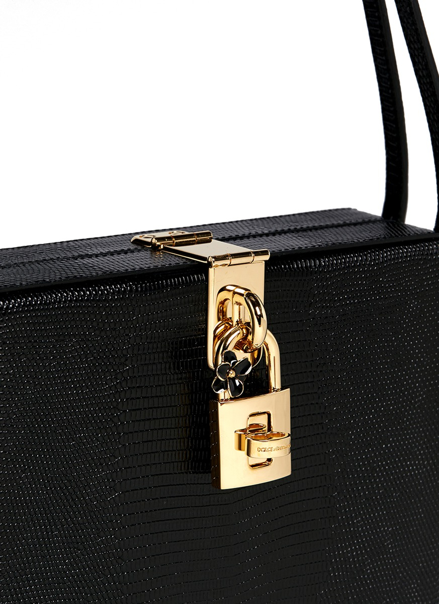 01c06c5312 Lyst - Dolce   Gabbana  mama Dolce  Stamped Leather Box Bag in Black