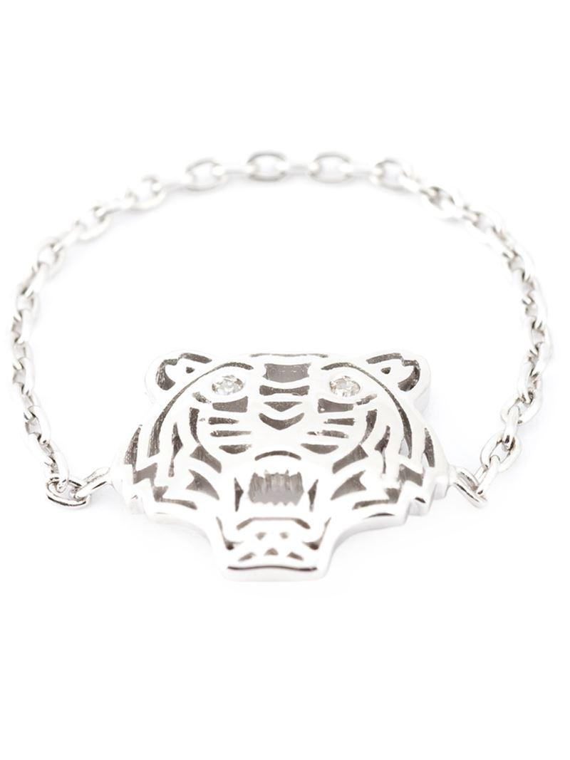 kenzo tiger ring in silver metallic lyst