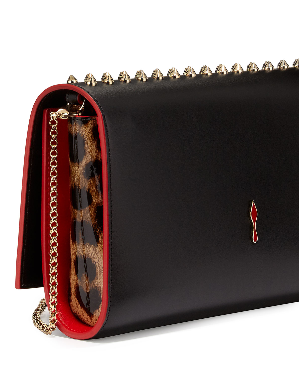 Christian louboutin Paloma Fold-over Spike Clutch Bag in ...