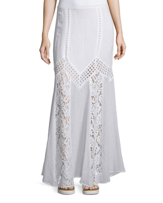 skin zaina maxi skirt w lace inset in white lyst