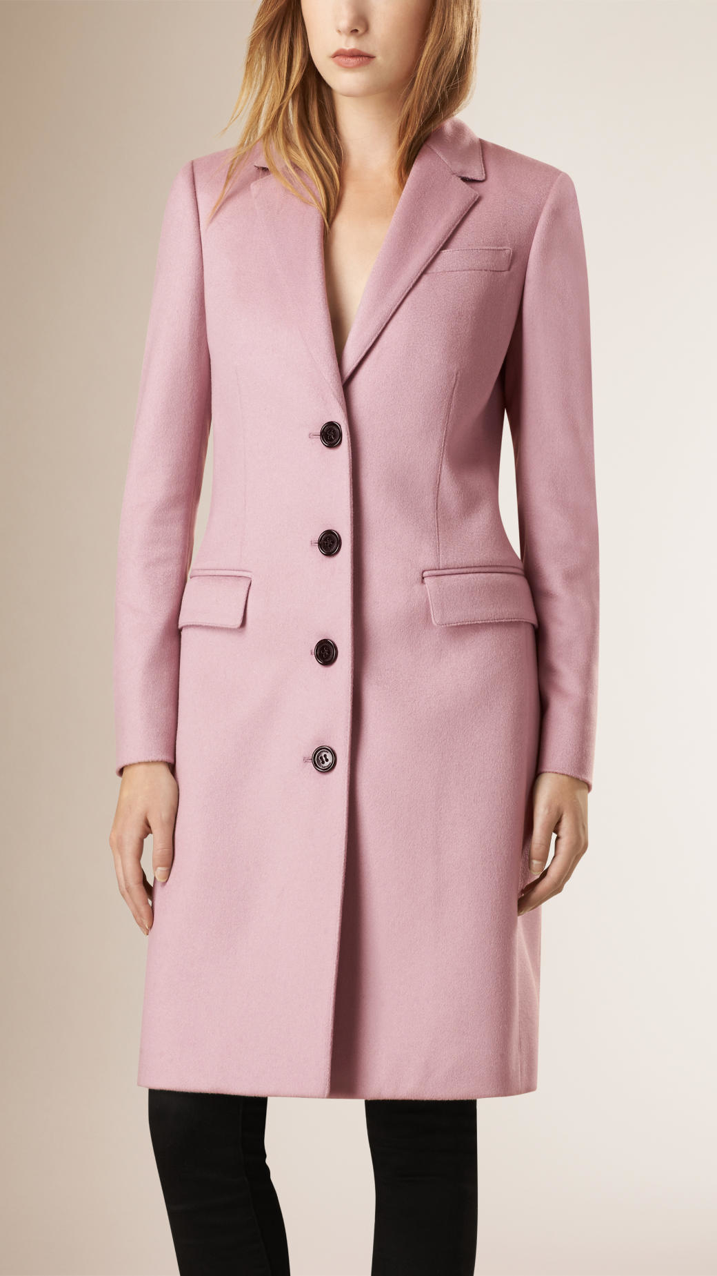 Burberry Cashmere Tailored Coat in Pink | Lyst