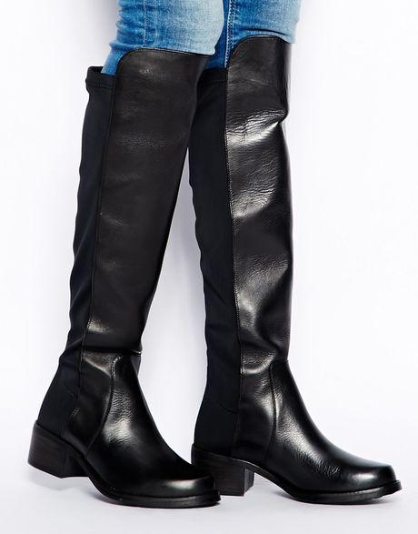 aldo delana the knee black leather boots in green