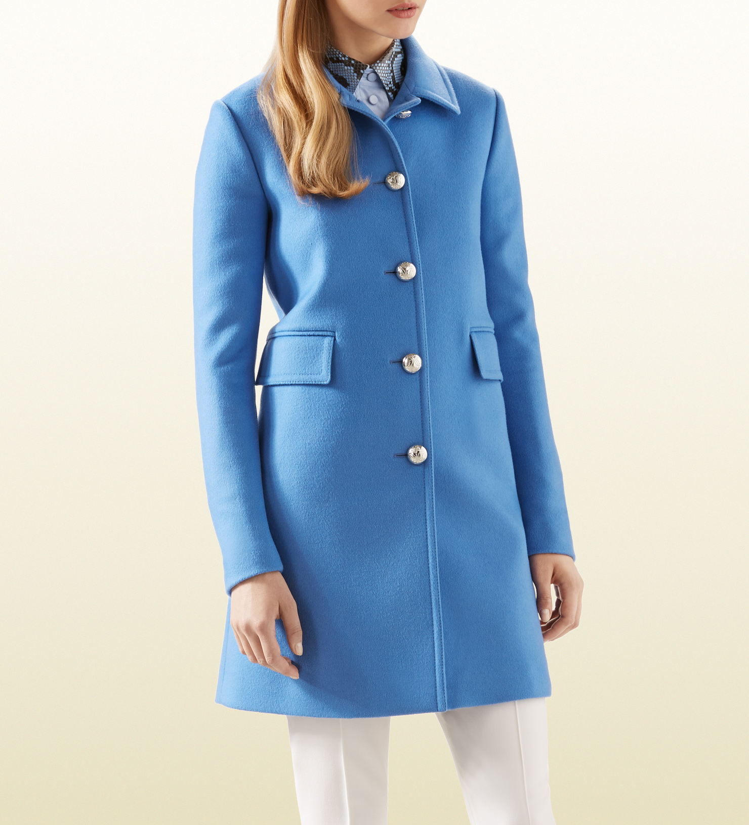 0d0d8da62 Gucci Blue Wool Coat in Blue - Lyst
