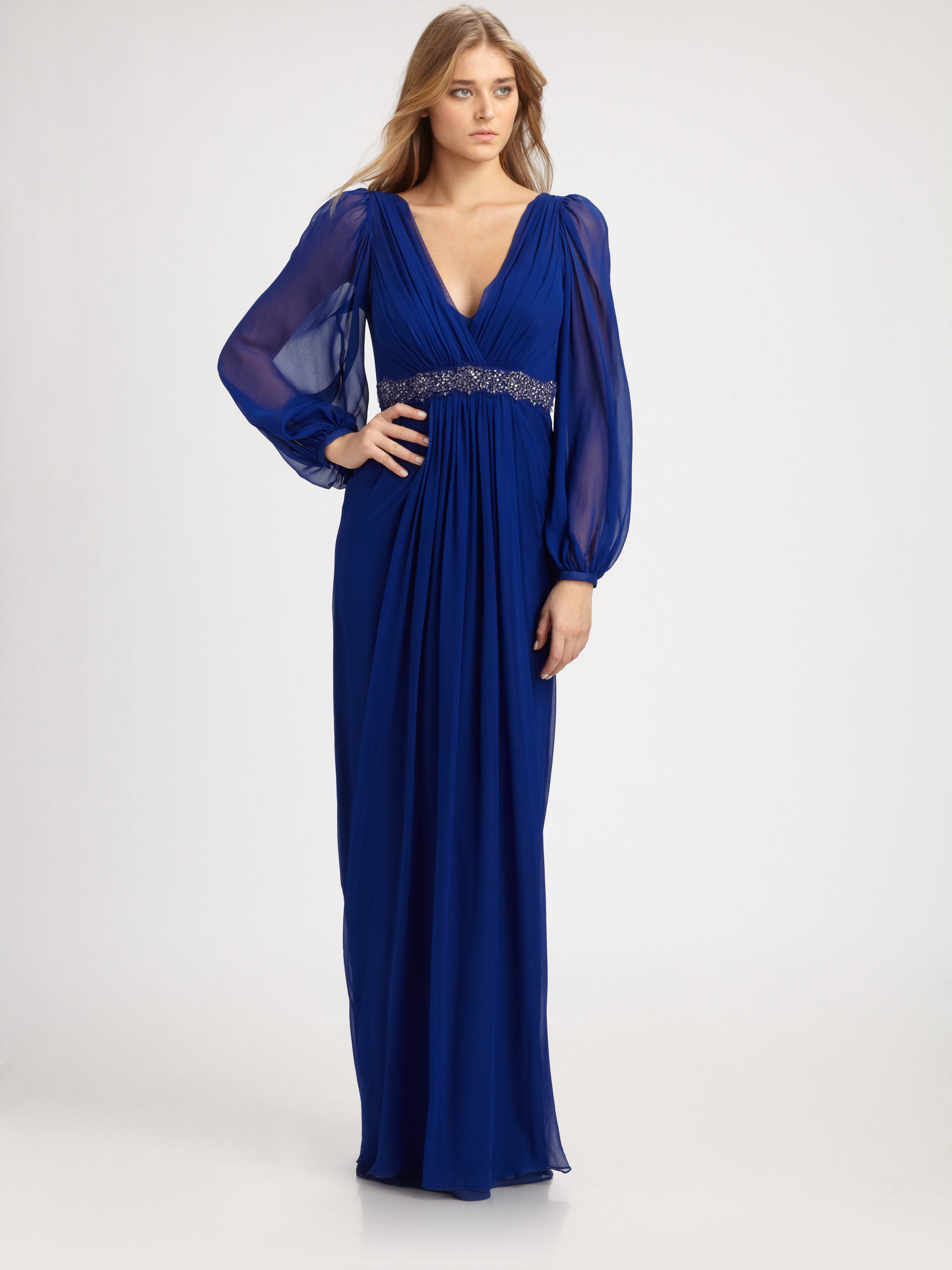 Teri jon Silk Gown in Blue  Lyst