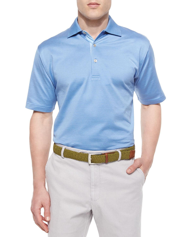 Peter millar jacquard lisle knit cotton polo shirt in blue for Peter millar polo shirts