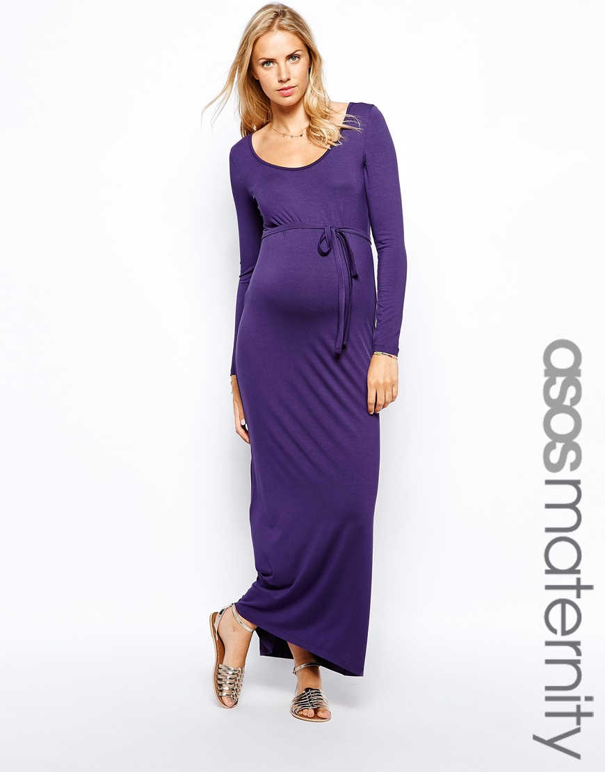Lyst - Asos Exclusive Maxi Dress With Sleeve And Scoop Neck in Purple