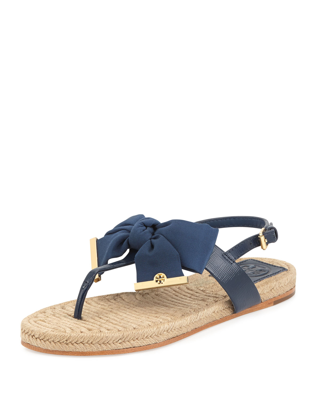 f10c1ac5f7778 Lyst - Tory Burch Penny Flat Bow Espadrille Thong Sandals Newport ...