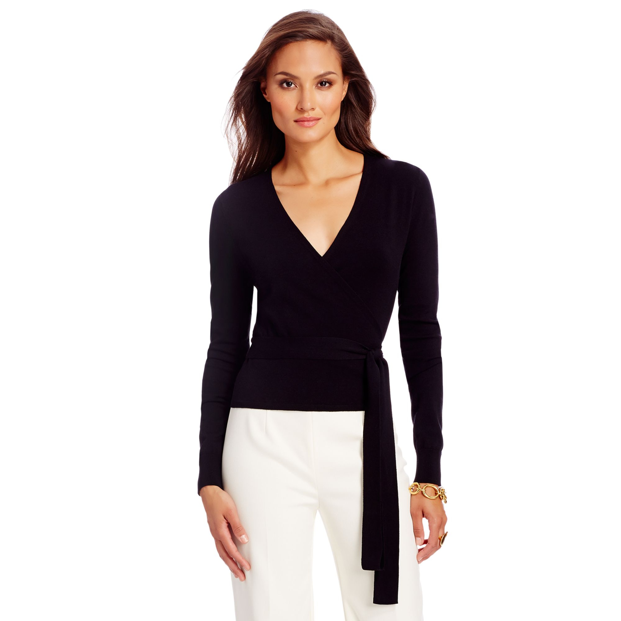 Diane von furstenberg Ballerina Lightweight Wrap Sweater in Black ...