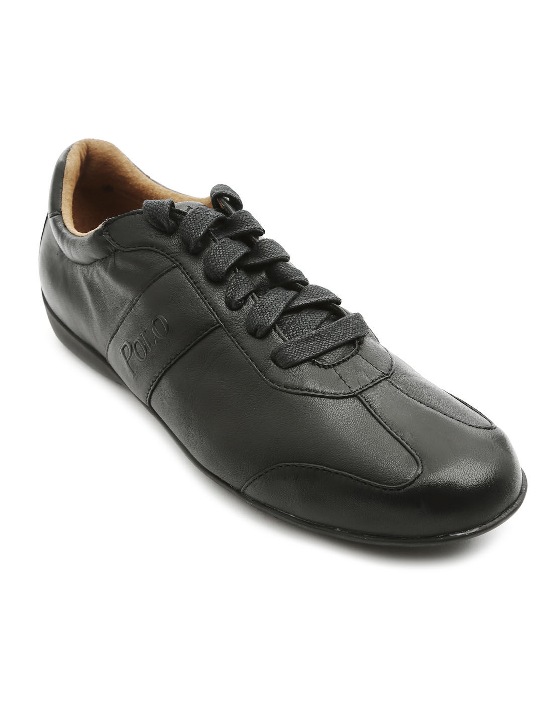 polo ralph lansil black leather shoes in black for