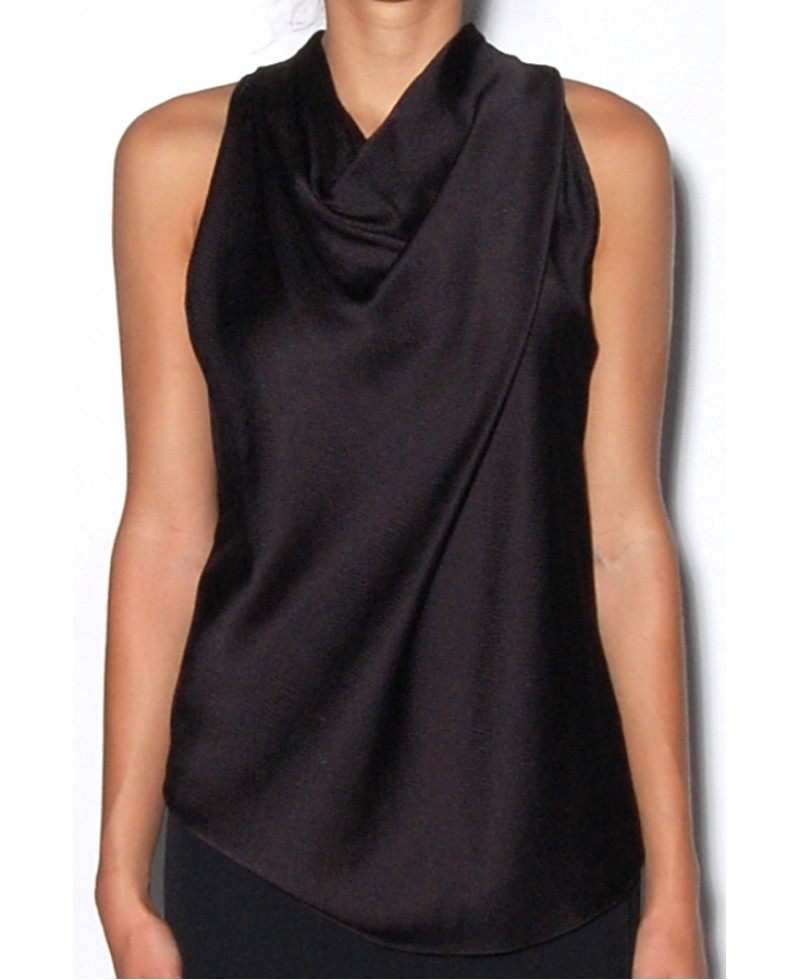 62f6ba57fd944e Lyst - Helmut Lang Black Silk High Cowl Neck Top in Black