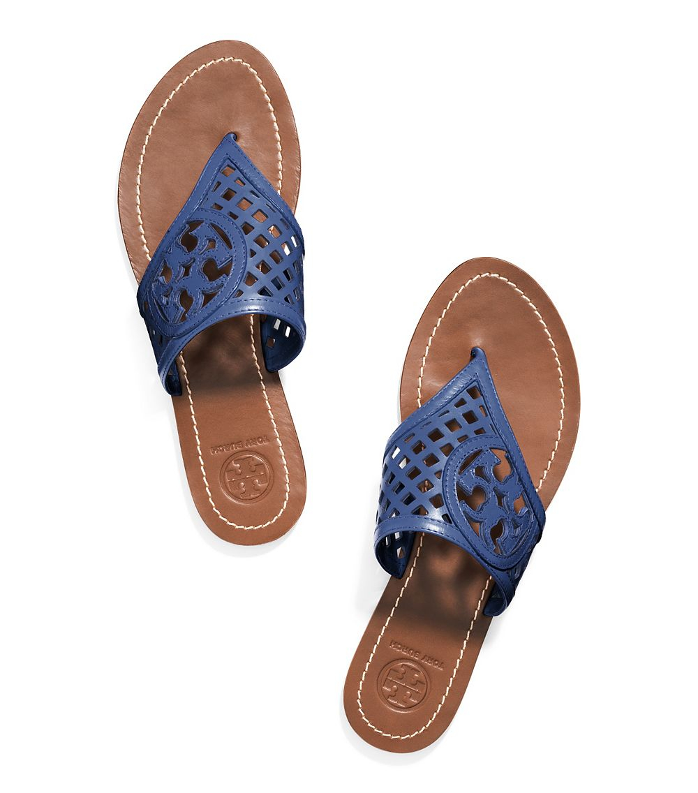 faf5fb4f0526dc Lyst - Tory Burch Thatched Perforated Thong Sandal in Blue