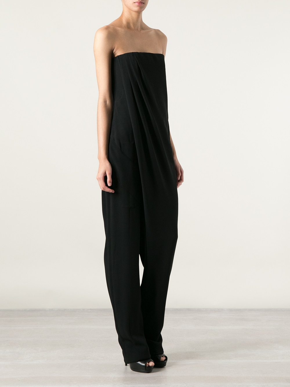 c63af384cd8 Lyst - Givenchy Strapless Draped Jumpsuit in Black