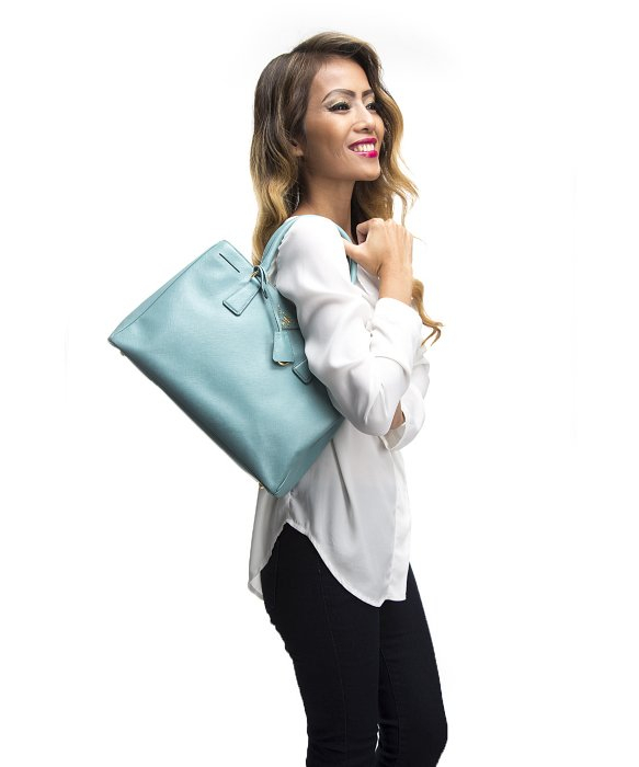 Prada Pre-owned Blue Saffiano Lux Small Double Zip Tote Bag in ...