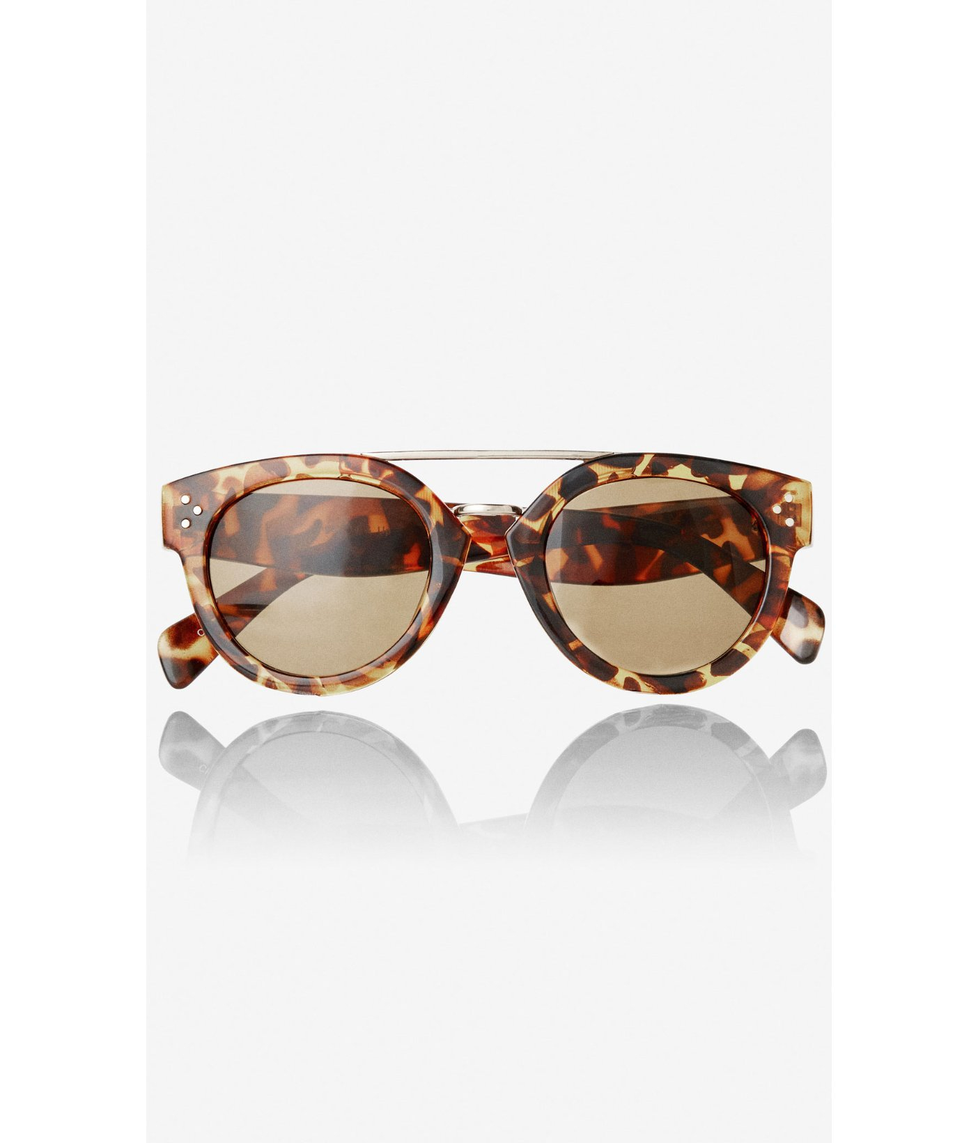 Express Sunglasses  express cateye brow bar sunglasses in brown lyst