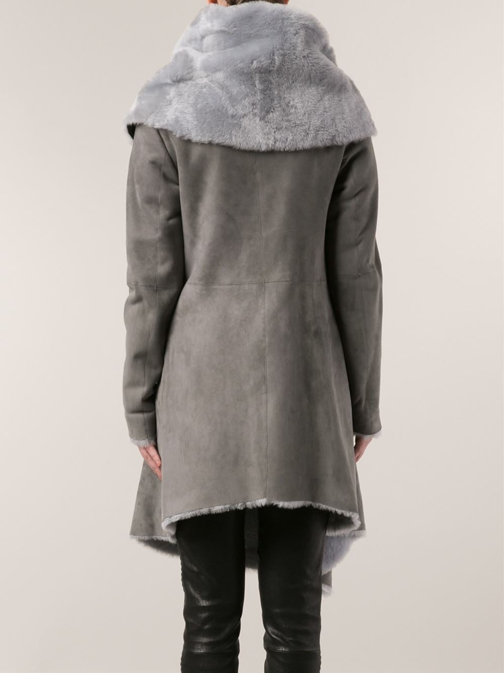 Barbara bui Shearling Coat in Gray | Lyst